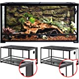 REPTI ZOO 50 Gallon Reptile Glass Tank Terrarium 2 in 1 Side Meshes and Side Glasses Double Hinge Door with Screen Ventilatio