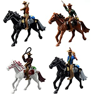FUNSHOWCASE Western Cowboys Gunslingers with Horses Miniatures for Fairy Garden, Cake Topper, Toy, Aquarium Terrarium - Set of 4