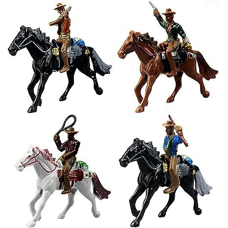 FUNSHOWCASE Western Cowboys Gunslingers with Horses Miniatures for Fairy Garden, Cake Topper, Toy, Aquarium Terrarium - Set of 4