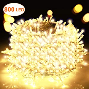 Decute 800 LED Christmas Lights 262ft Indoor Outdoor String Lights Warm White with 8 Lighting Modes, UL Certified Wedding Party Christmas Tree Decoration Lights