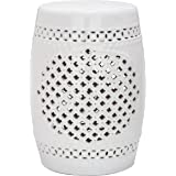 Safavieh Castle Gardens Collection Quatrefoil Ceramic Garden Stool, White