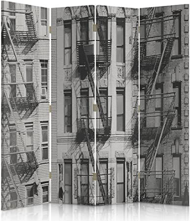 feeby Frames, biombo interior, biombo lienzo, biombo Déco, barrera de separación, biombo 3 o 4 paneles edificio, escaleras, Industrial, blanco y negro, 2 faces 145x180 cm: Amazon.es: Hogar