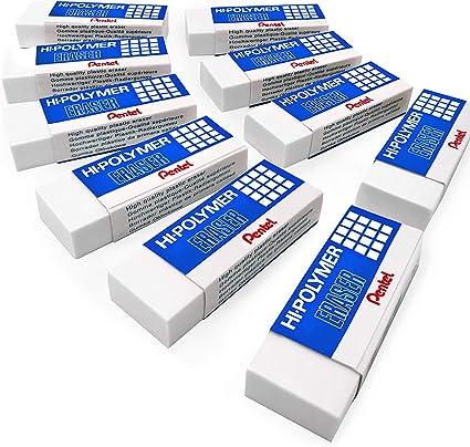 Pentel Polímero Jumbo Plástico Borradores Blanco - Pack de 10 ...