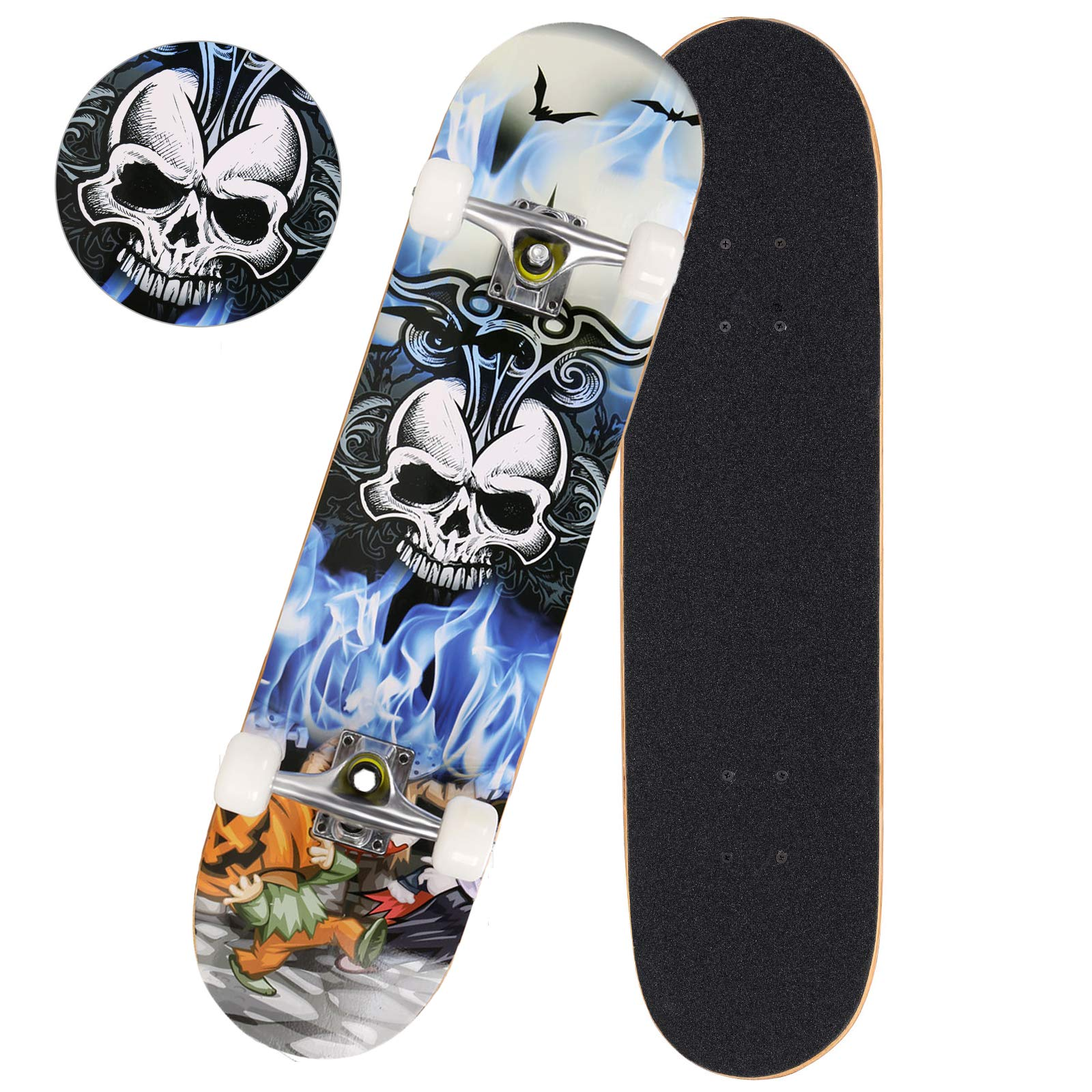 Anfan 31'' Pro Complete Skateboard, Adult Tricks Skate Board with 9 Layer Canadian Maple Wood, Double Kick Tail for Beginner Kids Boys Girls 5 Up Years Old (US Stock) (Skull)