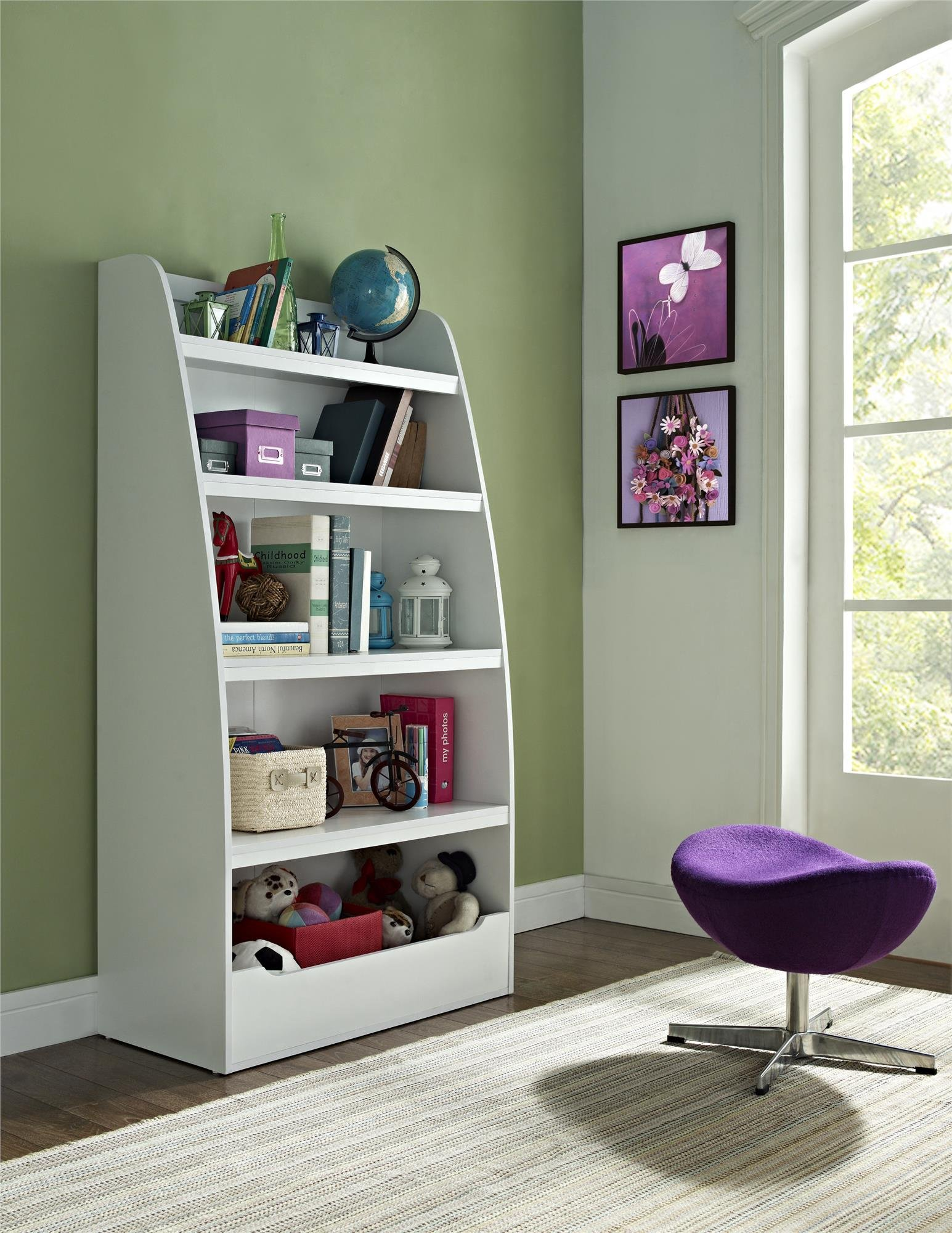 Ameriwood Home Hazel Kids' 4 Shelf Bookcase, White by Ameriwood Home (Image #1)