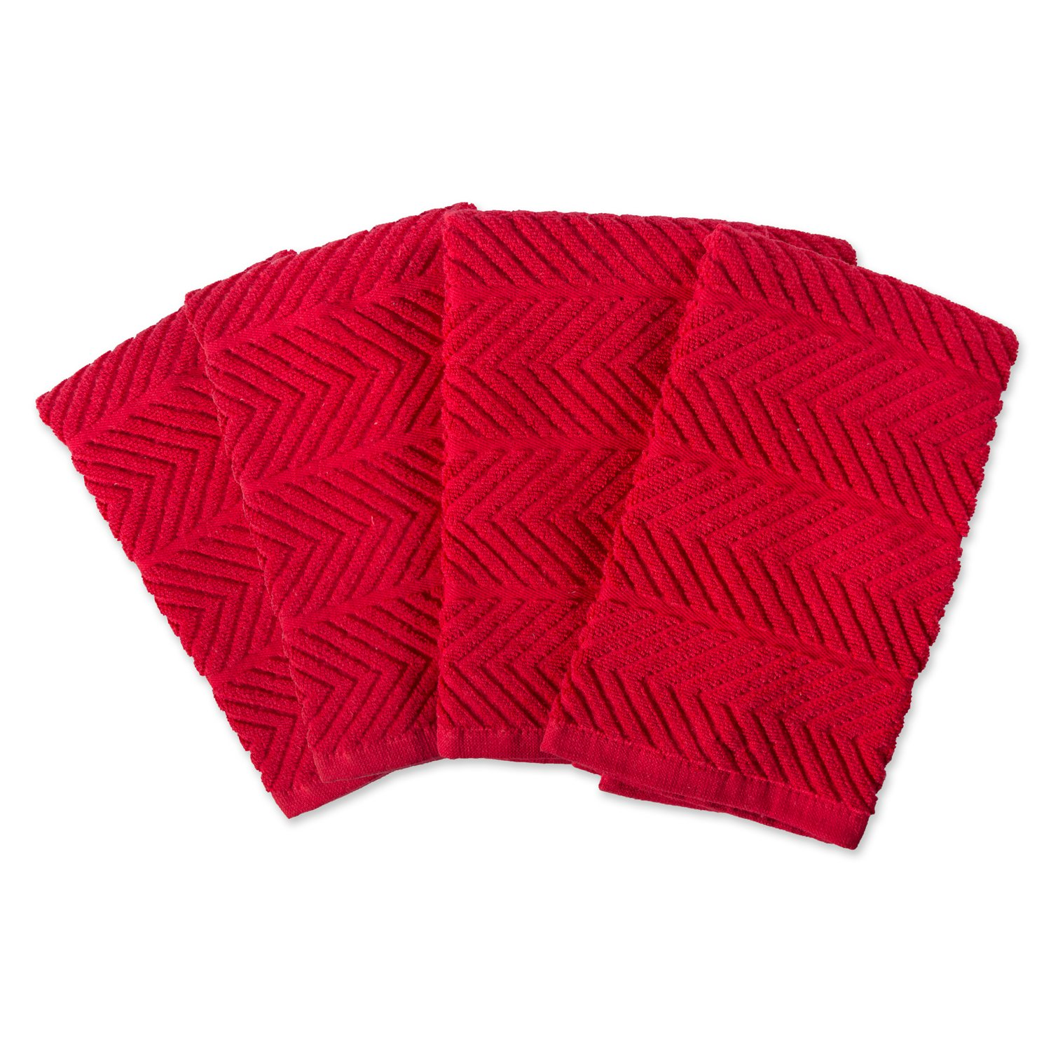 DII 100% Cotton Ultra-Absorbent Cleaning Drying Luxury Kitchen Chevron Bar Mop Dish Towels for Everyday Home Basic 16 x 19 Set of 4- Tango Red