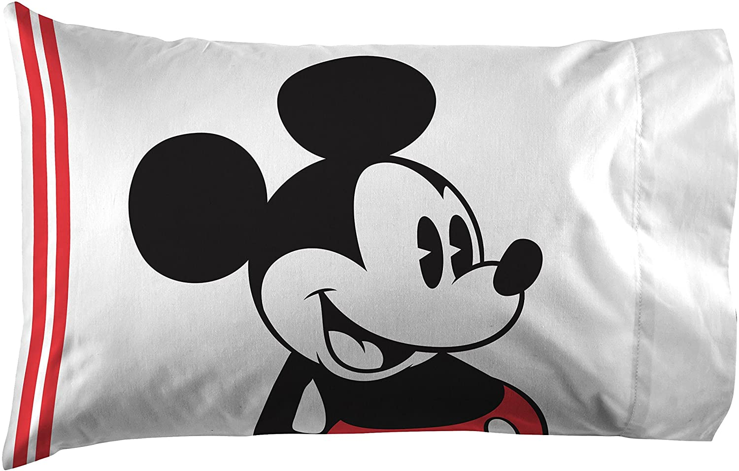 Jay Franco Mickey Mouse Jersey Classic 1 Pack Pillowcase - Double-Sided Kids Super Soft Bedding (Official Product)