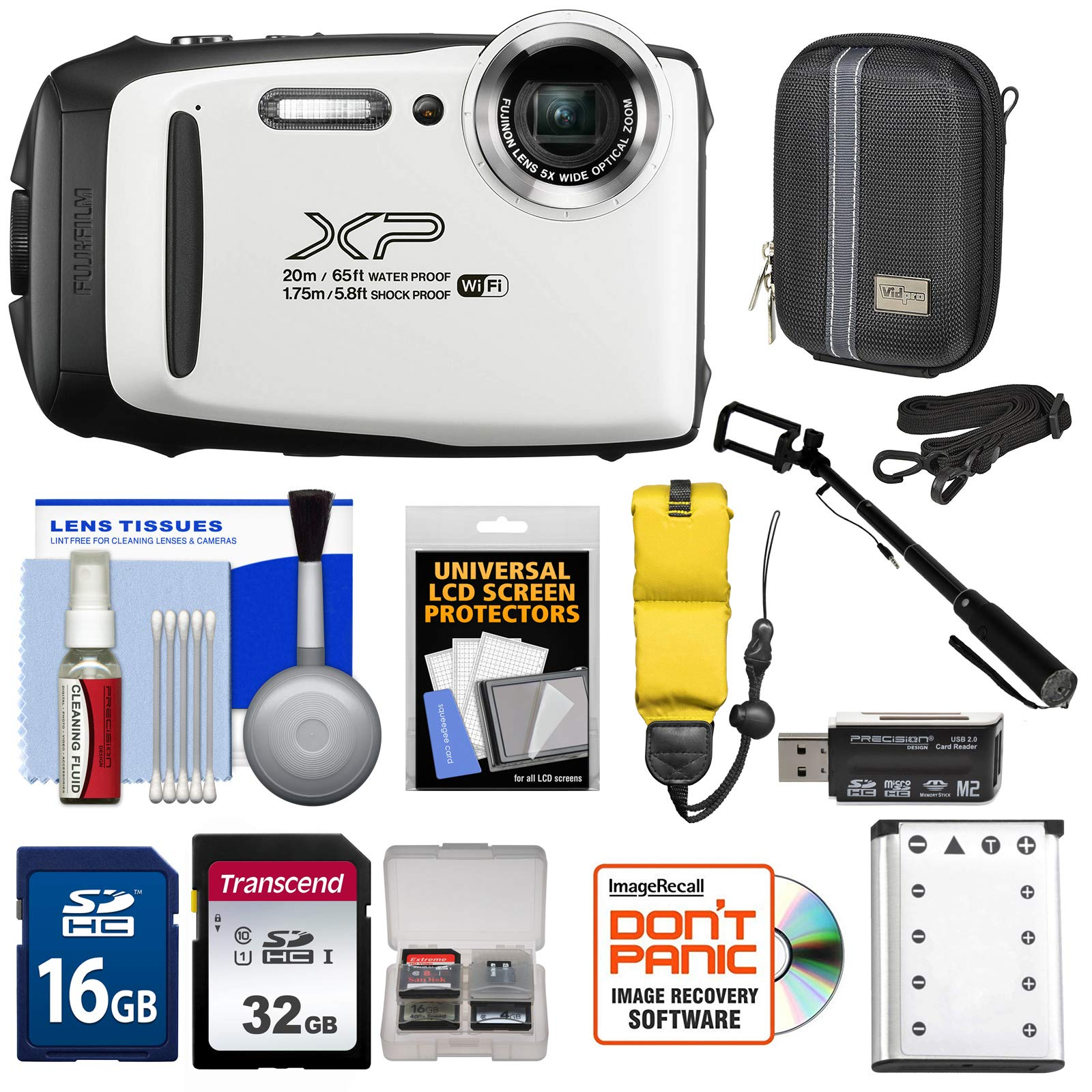 Fujifilm FinePix XP130 Shock & Waterproof Wi-Fi Digital Camera (White) with 32GB Card + Battery + Cases + Float Strap + Selfie Stick + Kit by Fujifilm