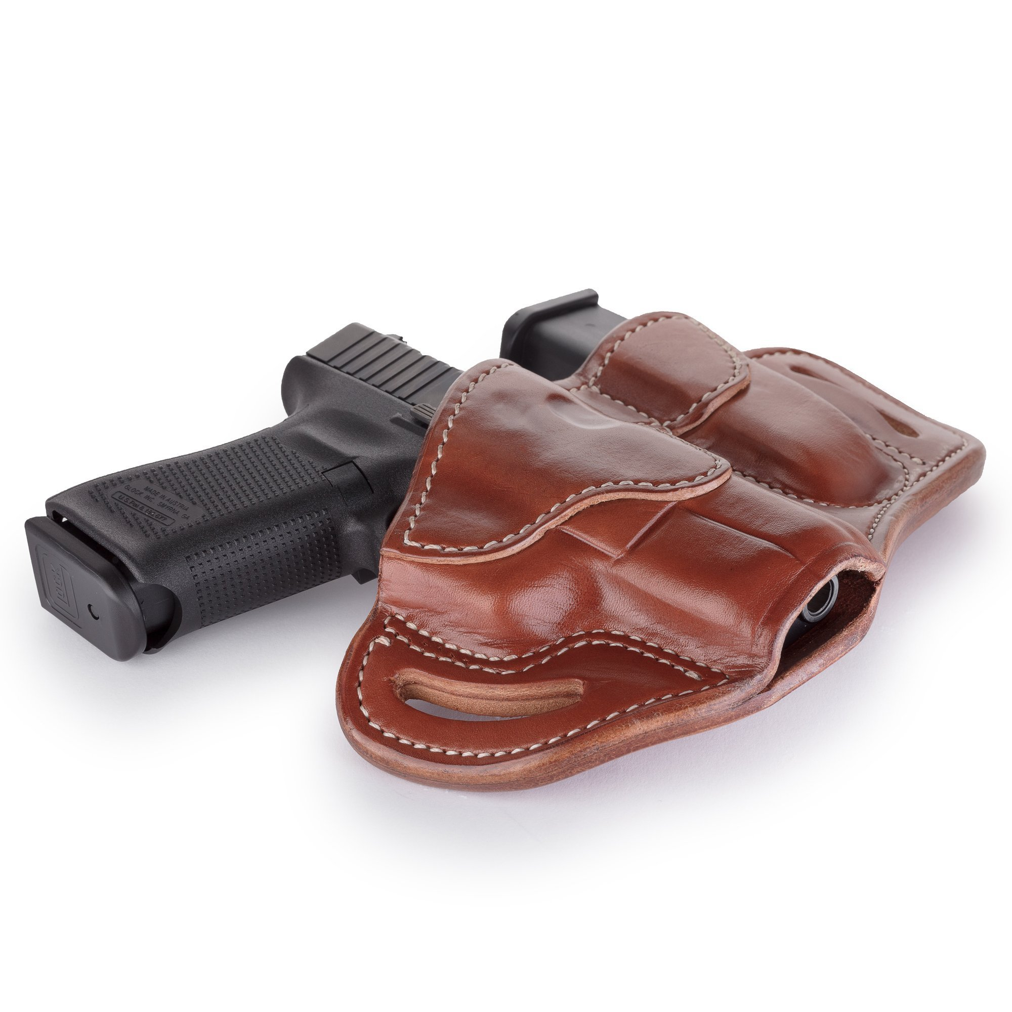 1791 GUNLEATHER Glock 19 Holster - Right Hand OWB G19 Leather Holster for Belts - Fits Glock 19, 23, 26, 27, H&K VP40 and Springfield XDS (BH2.1) (Combo Classic Brown) by 1791 GUNLEATHER (Image #3)
