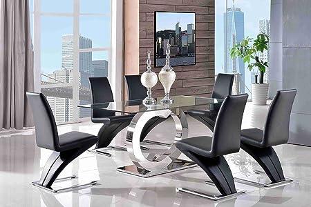Tavolo E Sedie Trasparenti.Modern Furniture Direct Canale 160 Cm In Acciaio E Vetro