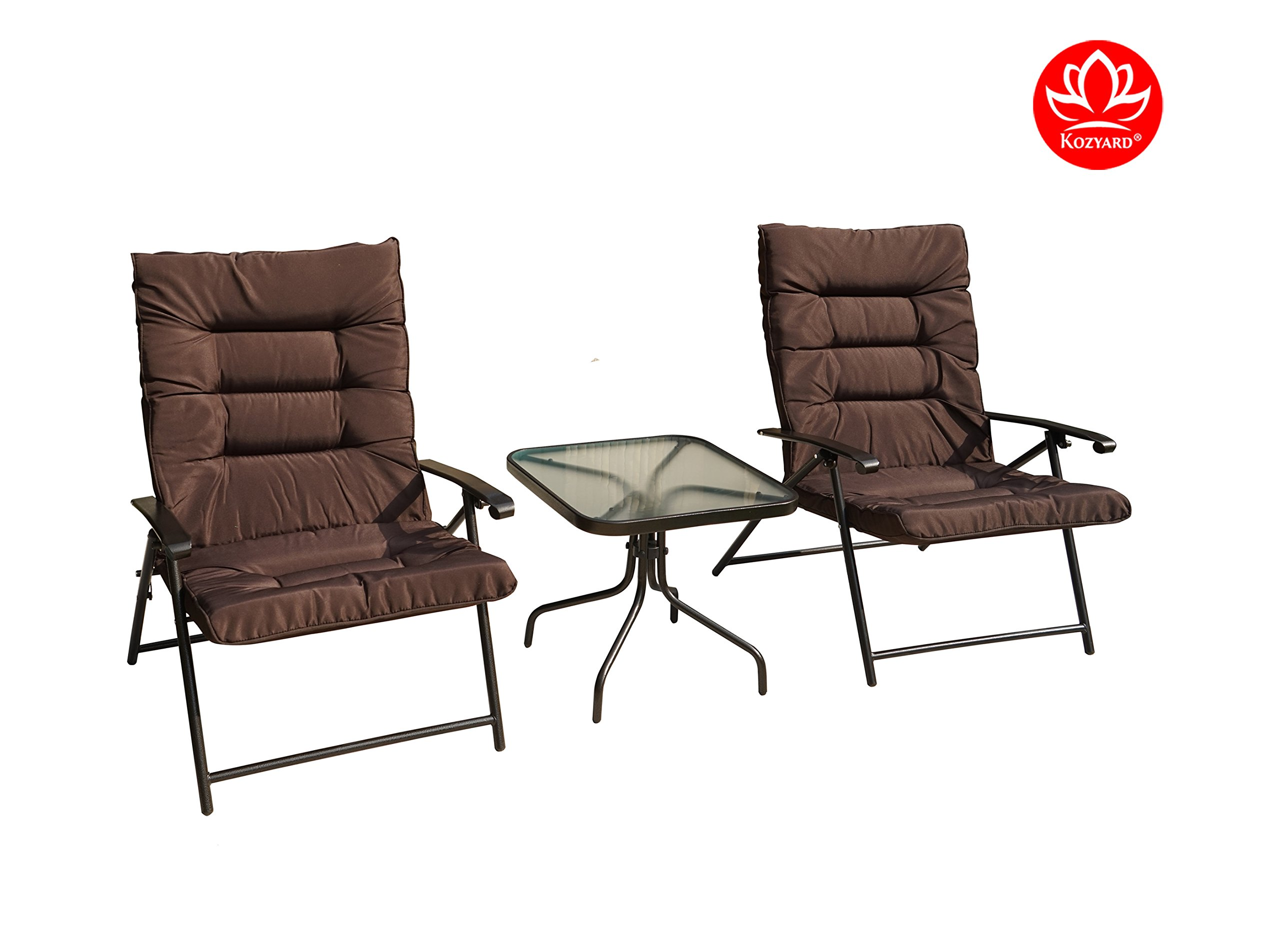 Kozyard Elsa 3 Pieces Outdoor Patio Furniture Padded Folding Sets for Yard, Patio, Deck or Backyard by Kozyard (Image #2)