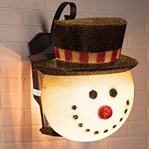 FUNPENY Snowman Christmas Porch Light Covers, Christmas Outdoor Decoration Holiday Light Covers for Porch Lights, Garage Lights, Large Light Fixtures