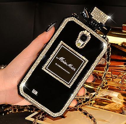 Coque Samsung Galaxy S5, Luxe Téléphone Case Diamant de Bouteille de Parfum Style sac à main Cover Housse Etui TPU pour Samsung Galaxy S5 - Noir
