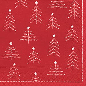 Ideal Home Range Luncheon Decorative Paper Napkins, Little Christmas Trees, White on Red, 20 Count