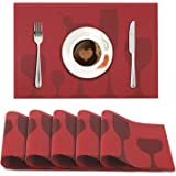 HOKIPO PVC Dining Table Placemats, Wine Red, 45x30cm, 6 Pieces