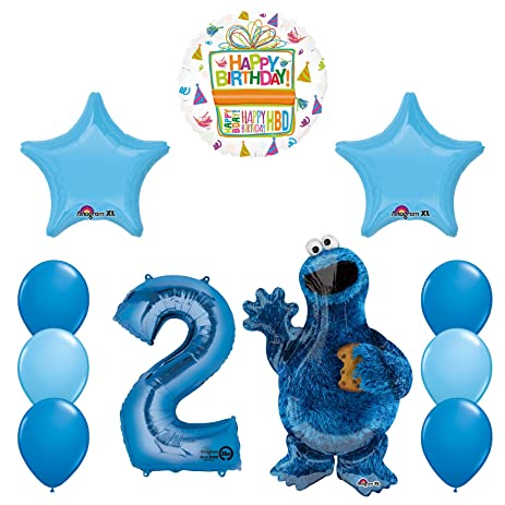 Sesame Street Cookie Monsters 2nd Birthday Party Supplies And Balloon Decorations