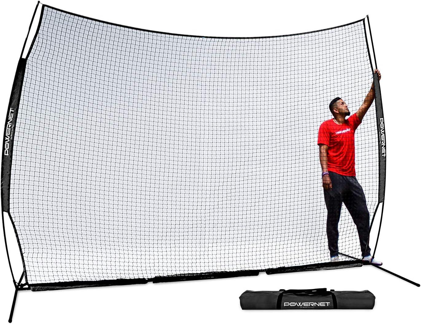 PowerNet 12 ft x 9 ft Sports Barrier Net 108 SqFt of Protection Safety Backstop Portable EZ Setup Barricade for Baseball, Lacrosse, Basketball, Soccer, Field Hockey, Softball