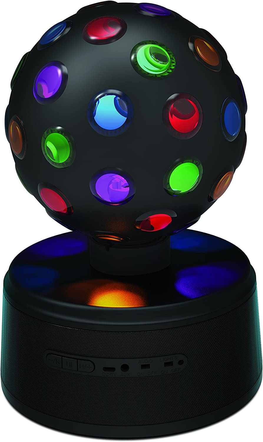 Sharper Image SBT651BK Universal Rechargeable Bluetooth Disco Ball Speaker with LED Color Changing Lights