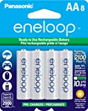 Panasonic BK-3MCCA8BA eneloop AA 2100 Cycle Ni-MH Pre-Charged Rechargeable Batteries, 8 Pack
