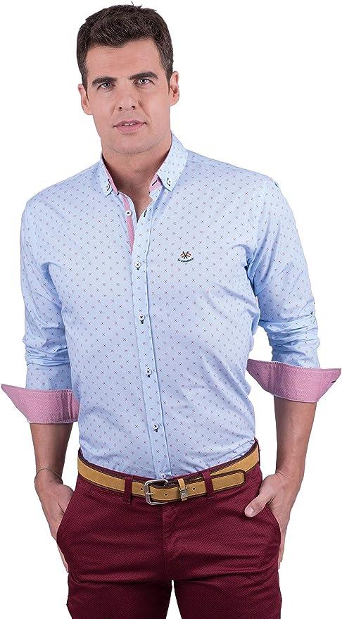 La Española Camisa Azul Celeste con Estampado Fino: Amazon.es: Ropa y accesorios