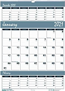 product image for House of Doolittle 2021 Three-Month Wall Calendar, Bar Harbor, 12 x 17 Inches, January - December (HOD342-21)