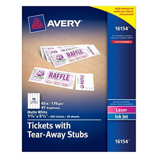 Amazon.Com : Avery Tickets With Tear-Away Stubs, 1.75 Inches X 5.5
