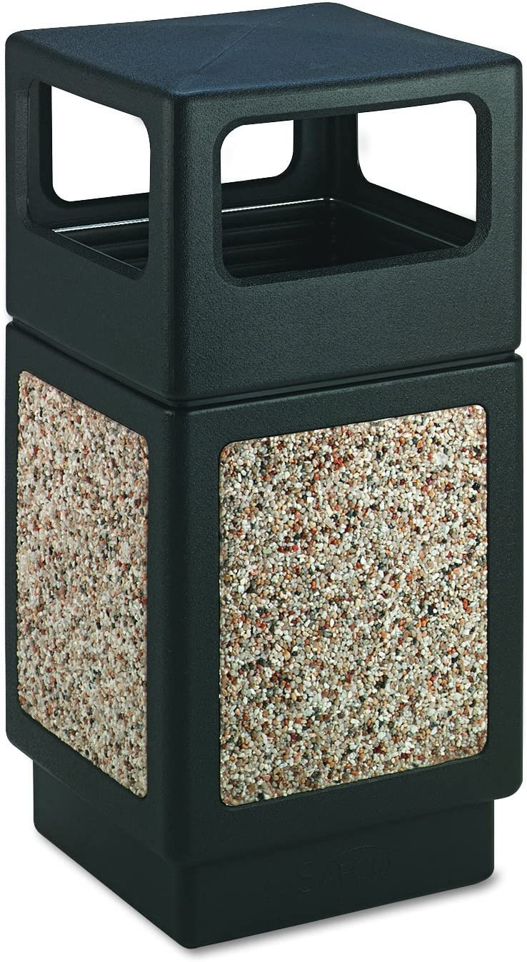 Safco Products Canmeleon Outdoor/Indoor Aggregate Panel Trash Can 9472NC, Black, Natural Stone Panels, Outdoor/Indoor Use, 38-Gallon Capacity