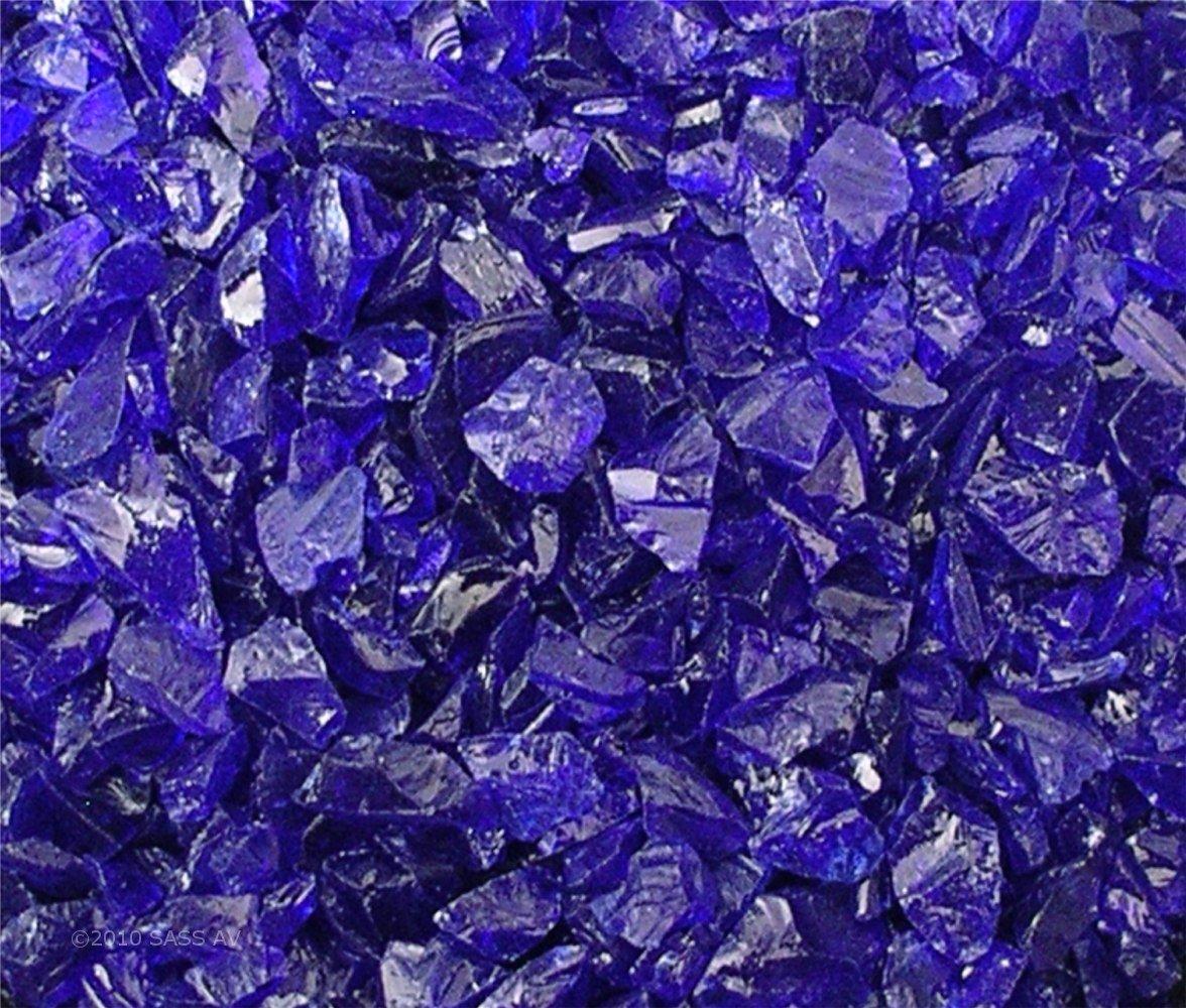Fire Pit Glass Rocks, ~3/8-1/2'' COBALT BLUE, 40 LBS