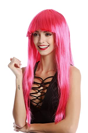WIG ME UP - 1373-PC41 Peluca mujer Carnaval Halloween larga lisa flequillo color rosa