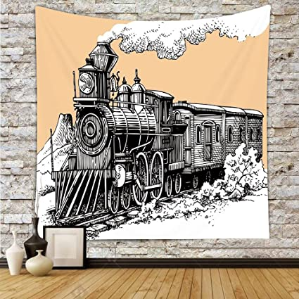 Amazon.com: iPrint Polyester Tapestry Wall Hanging,Steam Engine ...