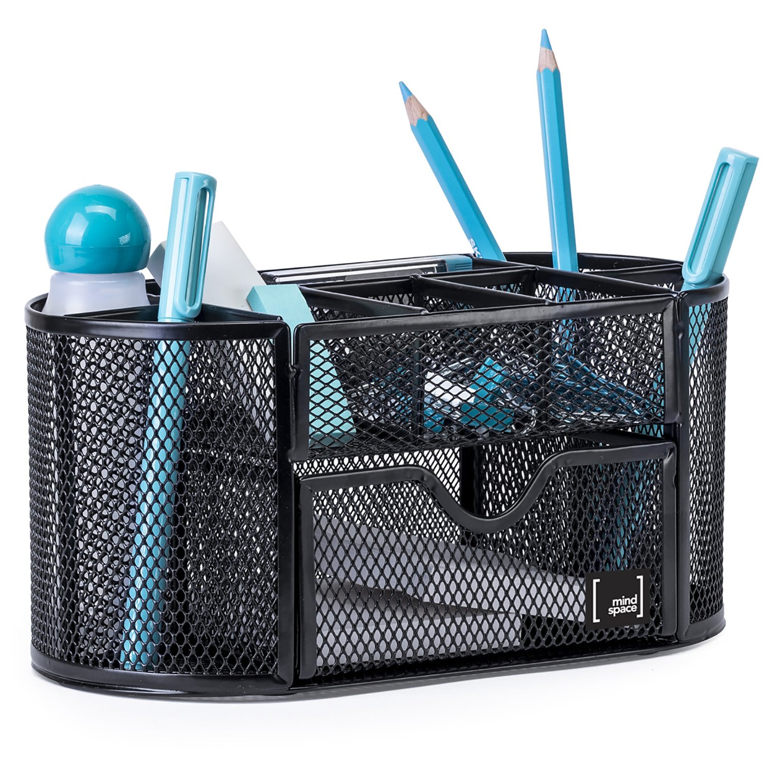 Pen Holder for Desk By Mindsapce with 8 Compartments + Drawer | The Mesh Collection, Black