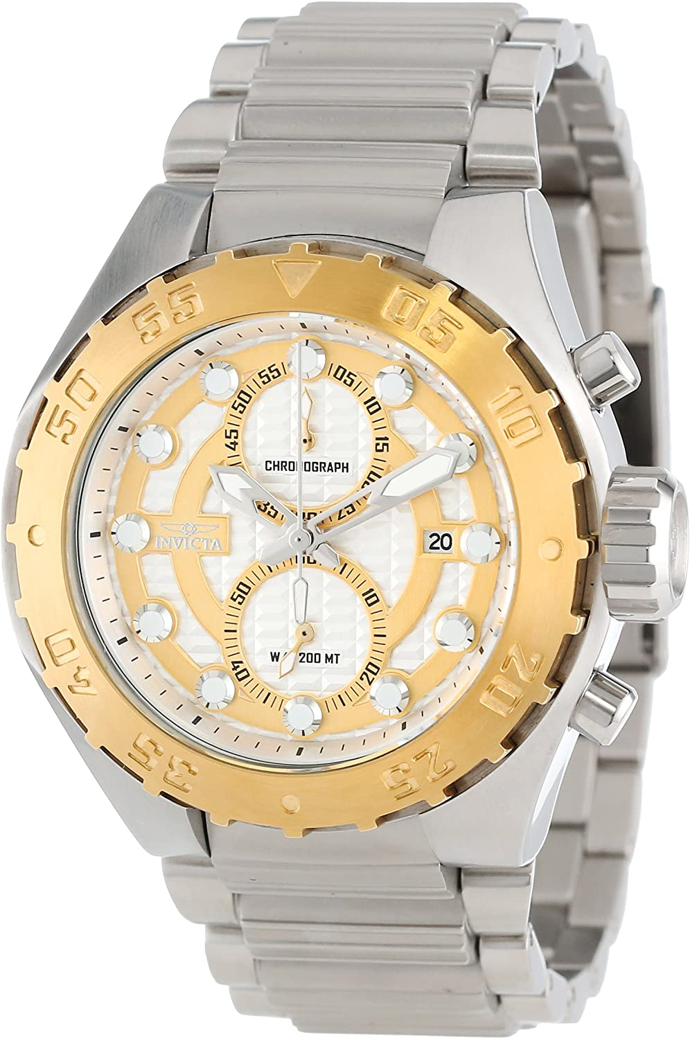 Invicta Men's 13090 Pro Diver Chronograph Silver Textured Dial Stainless Steel Watch