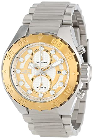 Invicta Mens 13090 Pro Diver Chronograph Silver Textured Dial Stainless Steel Watch