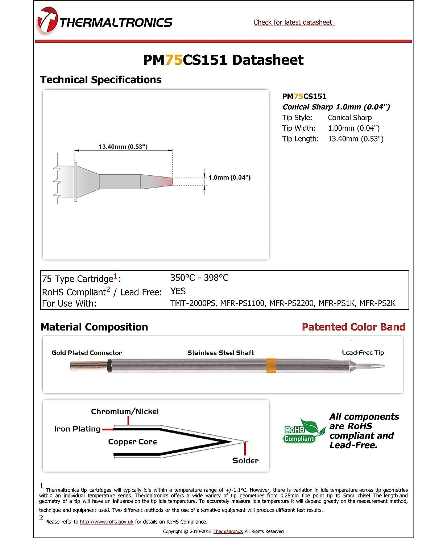Thermaltronics PM75CS151 Conical Sharp 1.0mm 0.04