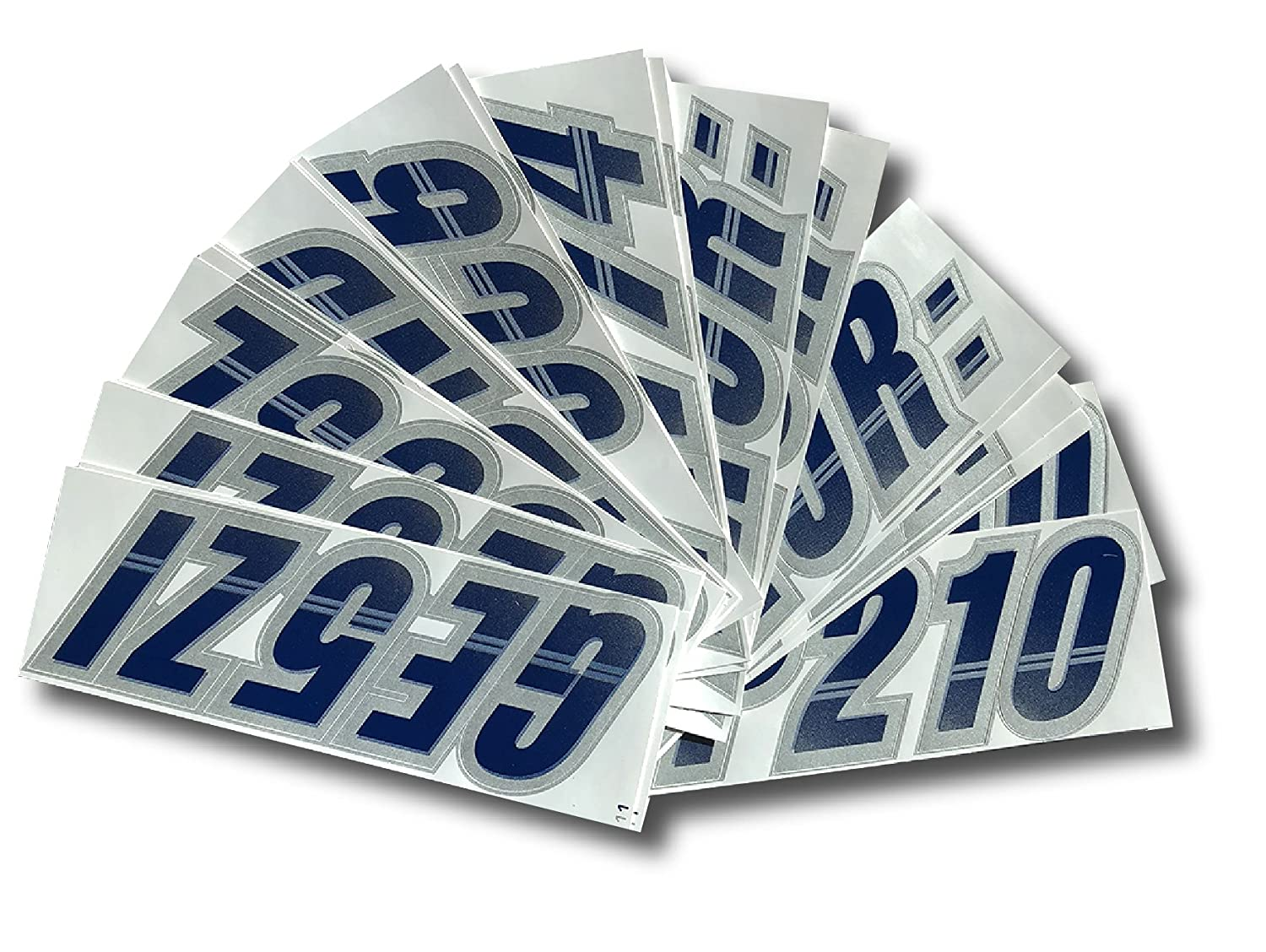 Stiffie Techtron Navy//Silver 3 Alpha-Numeric Registration Identification Numbers Stickers Decals for Boats /& Personal Watercraft
