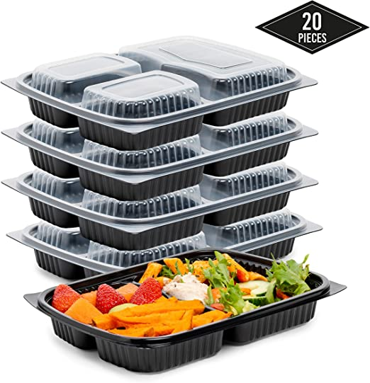 20 Pack 3-Compartimentos Meal Prep Containers, Contenedor ...