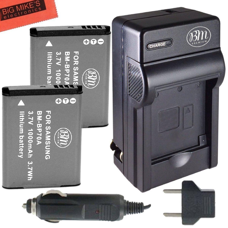 Amazon.com : BM Premium 2-Pack of BP-70A, BP70A Batteries and Battery  Charger for Samsung DV150F, ES65, ES70, ES80, MV800, PL120, PL170, PL20,  PL200, PL80, ...