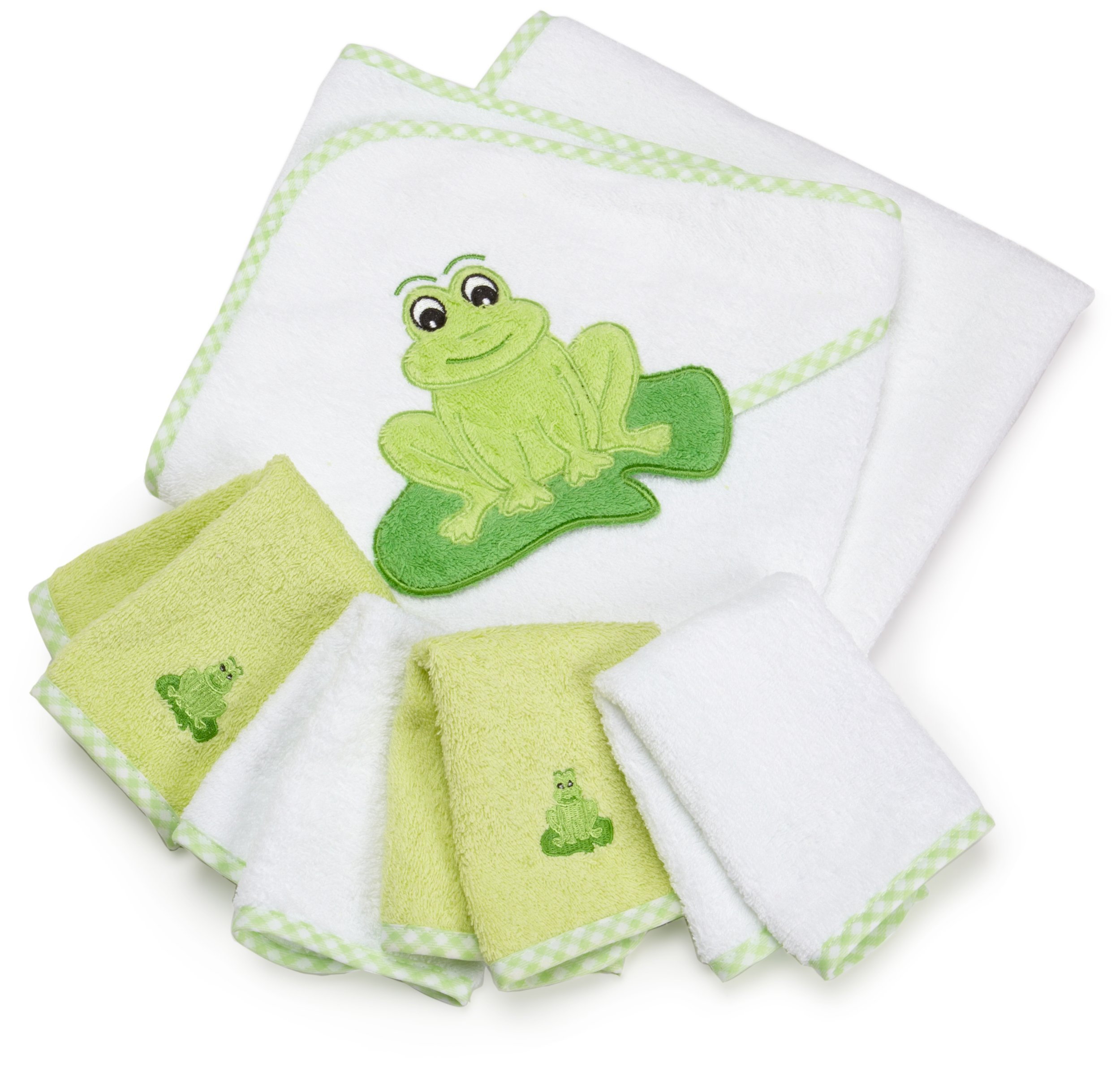 SpaSilk 100% Cotton Hooded Terry Bath Towel with 4 Washcloths, Green by Spasilk