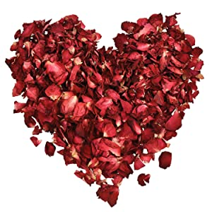 100 Grams Dried Rose Petals Red Real Flower Rose Petal for Bath Foot Bath Wedding Confetti Crafts Accessories, 1 Bag