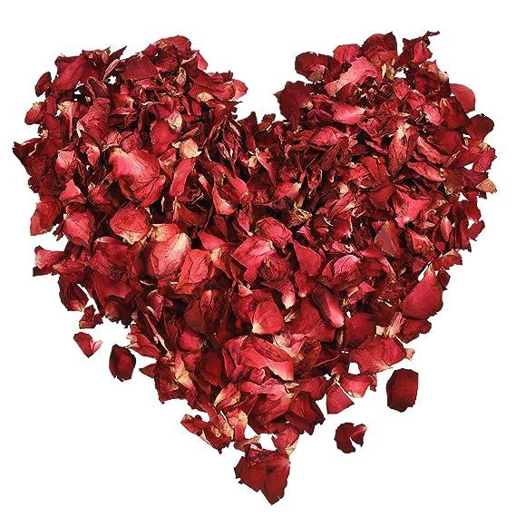 Hestya 100 Gramm Getrocknete Rosenblätter Rote Echte Blume Rosenblatt für Bad Fußbad Hochzeit Konfetti Handwerk Zubehör, 1 Ta