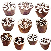 Fabric Wood Stamps Artistic Small Round Design Printing Blocks (Set of 10)
