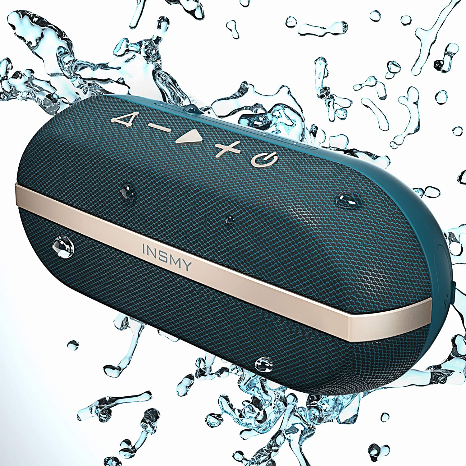 INSMY Portable Bluetooth Speakers, 20W Wireless Speaker Loud Stereo Sound Rich Bass, IPX7 Waterproof Floating, TWS Stereo Pairing, 24 Hours, Bluetooth 5.0, Built-in Mic for Outdoors Camping (Blue)