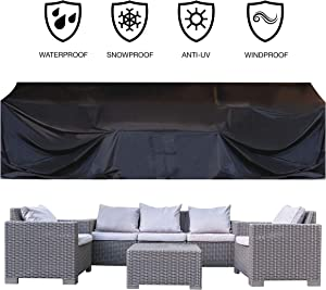 """JOORY Patio Furniture Cover Outdoor sectional Furniture Covers Waterproof Dust Proof Furniture Lounge Porch Winter Sofa Cover Protector D126""""x W63""""x H28"""" - Double Stitched Seam and Waterproof Strips"""