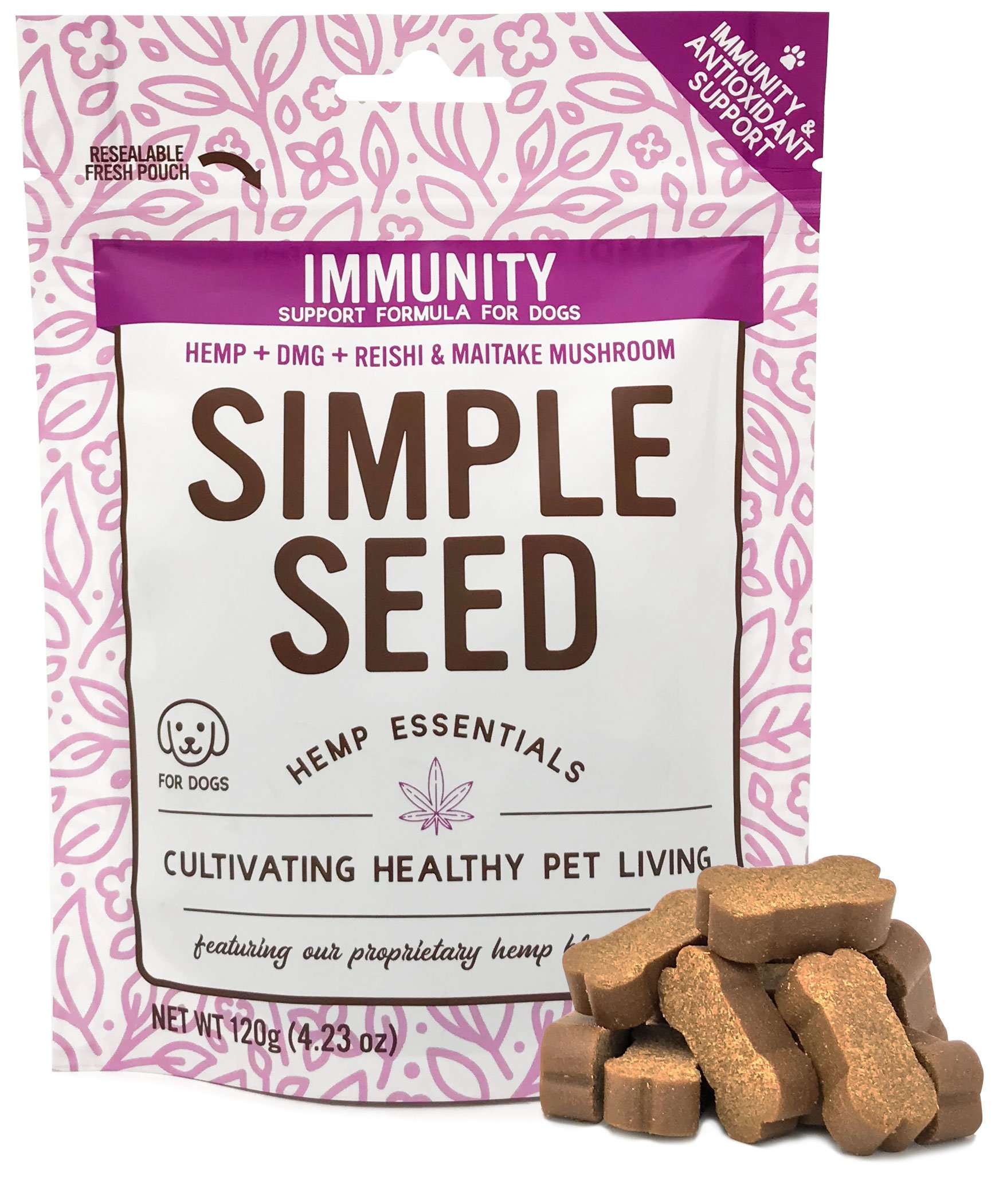 Hemp Allergy Immune Supplement for Dogs with Reishi Mushroom, Maitake Mushroom, Hemp Oil, and DMG by Simple Seed, 30 Soft Chews by Vetonic