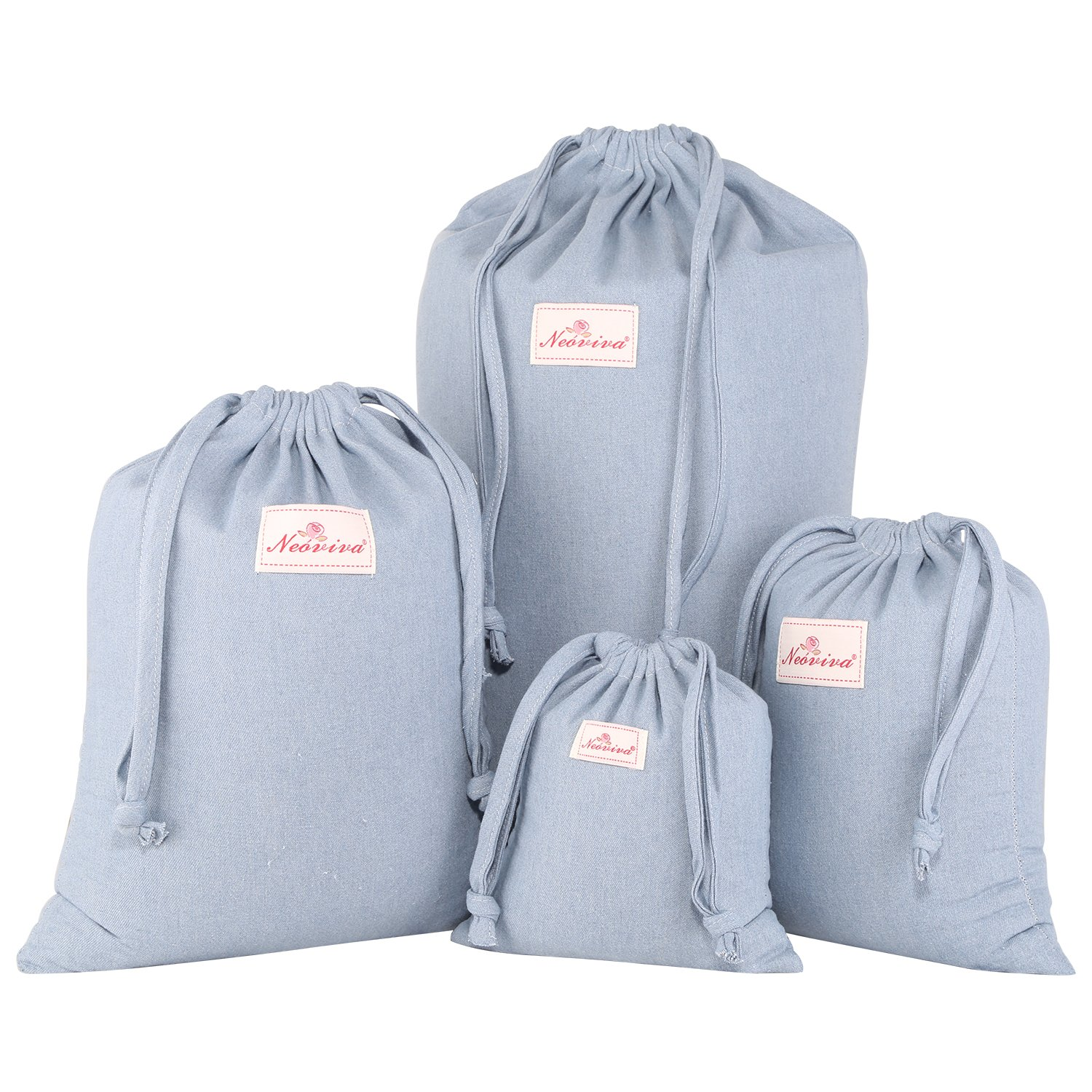 Neoviva Cotton Denim Drawstring Storage Bags for Home and Travel Organization, Set of 4 in Different Sizes, Solid Skyway Blue