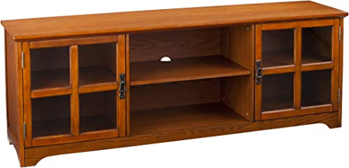 Simpli Home Warm Shaker SOLID WOOD 39 inch Wide Rustic Medium Storage Media Cabinet in Honey Brown, with 2 Doors with Tempered Glass, 2 Adjustable Shelves, 2 Open Top Cubbies