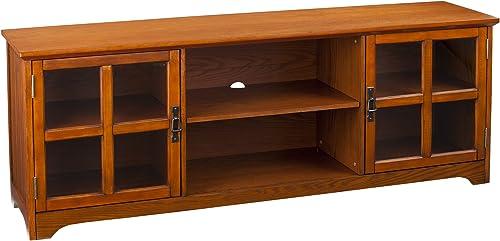 SEI Furniture Mission Oak Television Stand – Antique Bronze Finish – Windowpane Style Cabinets