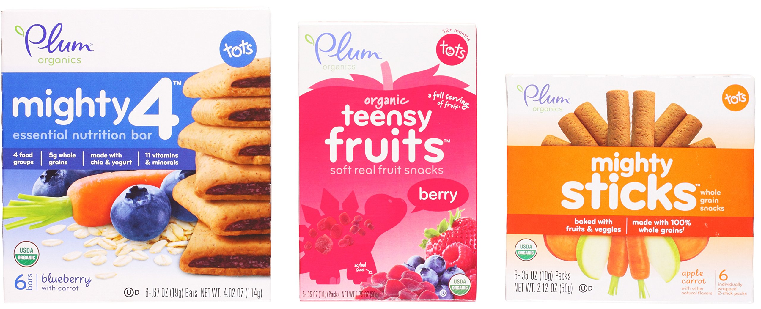 Plum Organics Toddler Snack Variety Bundle: (1) Mighty 4 Blueberry with Carrot Essential Nutrition Bars 4.02oz, (1) Berry Teensy Fruits 1.75oz, and (1) Apple Carrot Mighty Sticks 2.12oz (3 Pack Total) by Plum Organics