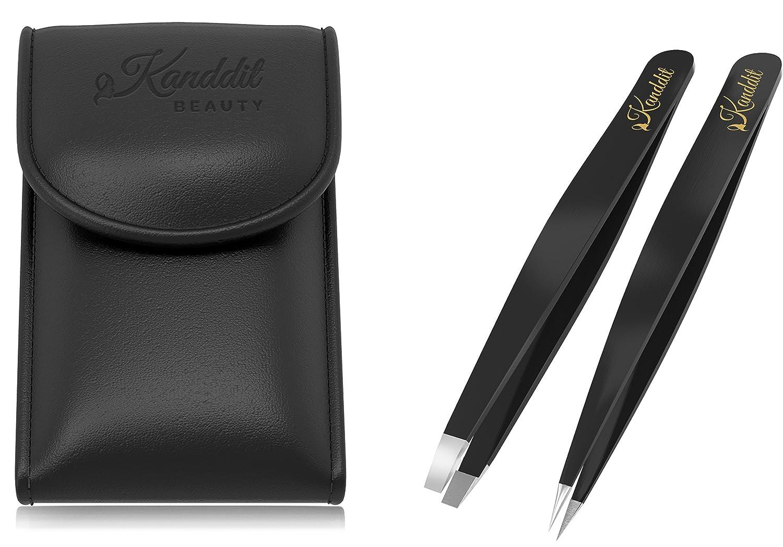 Kanddit, pinzette professionali per sopracciglia, estremità obliqua e a punta con confezione regalo e proteggipunte, colore nero