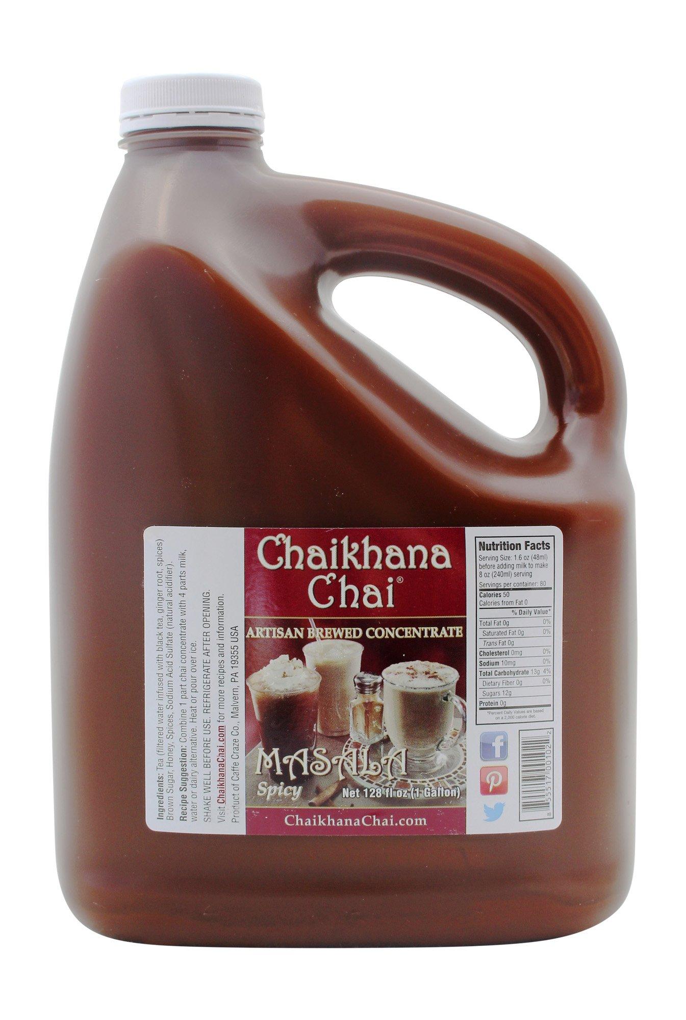 Organic Black Tea, Spicy Masala Chai Concentrate - 1 Gallon Jug - Makes 80 servings by Chaikhana Chai